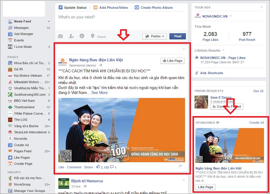 Giới Thiệu về Facebook ads với Viet ads: NHỮNG VỊ TRÍ XUẤT HIỆN QUẢNG CÁO TRÊN FACEBOOK