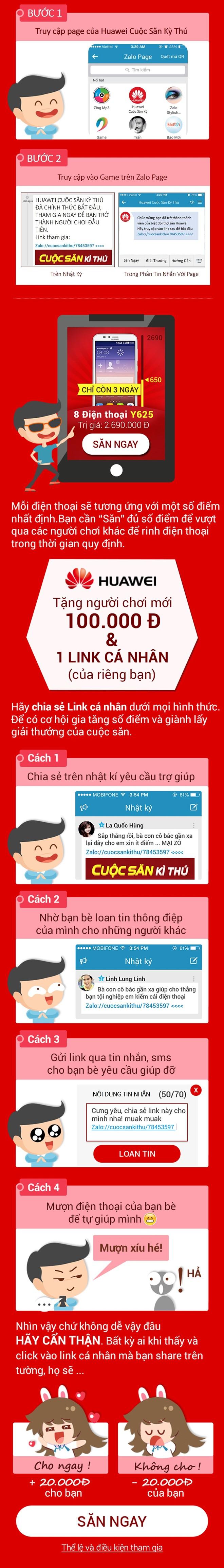 Bí kíp săn điện thoại Huawei Quảng Cáo Trên Zalo?