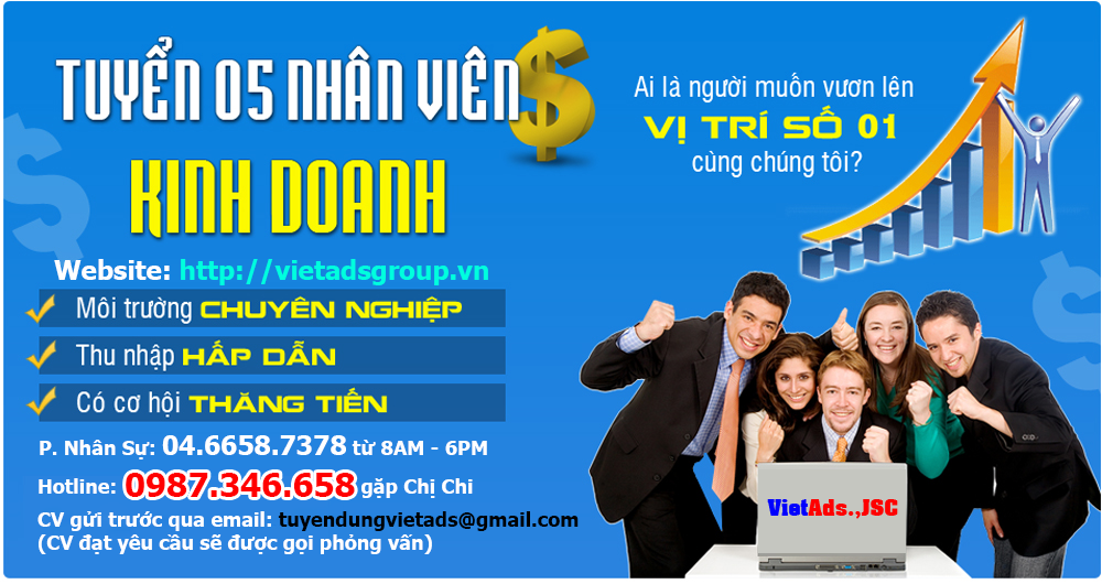 VietAds tuyển dụng 03 nhân viên kinh doanh năm 2020